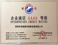 企业诚信AAAA等级企业